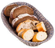 Basket with sliced bread Royalty Free Stock Photos
