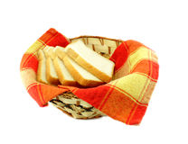 Basket with slices of fresh bread Stock Photography