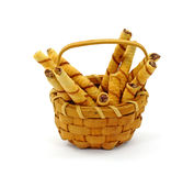 Basket of Slim Rolled Chocolate Filled Cookies Stock Photography