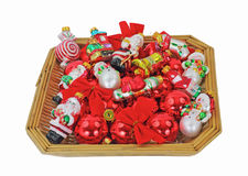 Basket Small Christmas Ornaments Stock Photography