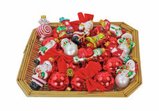 Basket Small Christmas Ornaments Overhead View Royalty Free Stock Photos