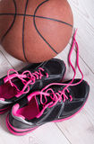 Basket sneakers and ball Royalty Free Stock Photos