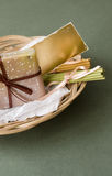 Basket with Soap and Aromatic Sticks Royalty Free Stock Photo
