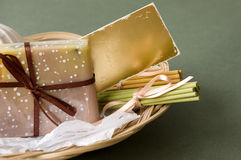 Basket with Soap and Aromatic Sticks Stock Image