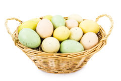 Basket of Speckeled Easter Eggs Royalty Free Stock Images