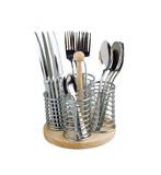 Basket of spoons and forks Royalty Free Stock Image