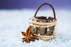 Basket with star anise Stock Photos