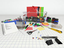 Basket with stationery. Royalty Free Stock Photography