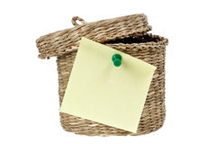 Basket with sticky note Stock Image