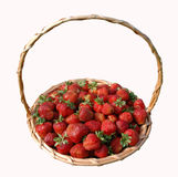 Basket with strawberries. My garden. The harvest of the strawberries stock image