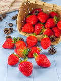 Basket with strawberries and fir cones spilling on the table. Basket with strawberries and fir cones spilling on the wooden table Stock Photography