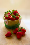 Basket of strawberries. With flowers Stock Photos