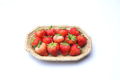 Basket with strawberries. Isolated on white background Stock Photography
