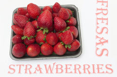 Basket with strawberries. Ripe and fresh strawberries Royalty Free Stock Photos