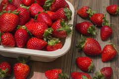 Basket with strawberries. Ripe and fresh strawberries Royalty Free Stock Images