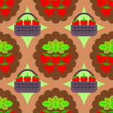 Basket of strawberries seamless background design Royalty Free Stock Photos