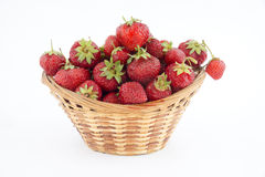 Basket of strawberries on white background Royalty Free Stock Image