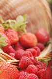 Basket with strawberry and raspberry Stock Image