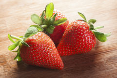 Basket with strawberry on table Royalty Free Stock Photography