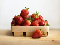 Basket with strawberry, top view, on a white background royalty free stock image