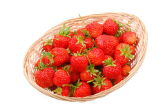 Basket with strawberry on white Royalty Free Stock Images