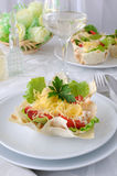 Basket, stuffed with chicken, tomatoes and cheese Royalty Free Stock Photo