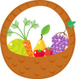 Basket with cabbage, carrots, grapes, pears, tomat Stock Photo