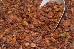Basket of sun raisins at an open air food market Royalty Free Stock Photos