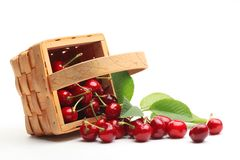 Basket with sweet cherries Royalty Free Stock Photos