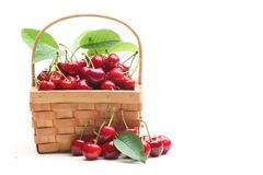 Basket with sweet cherries Royalty Free Stock Photo