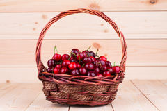 Basket of sweet cherry. Royalty Free Stock Images