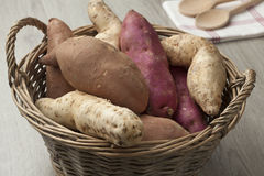 Basket with sweet potatoes Royalty Free Stock Photography