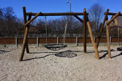 Basket swing in play ground Royalty Free Stock Photos