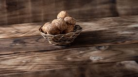 basket on the table with champagne stoppers stock image