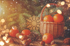 Basket with tangerines, cones, nuts and fir Stock Image