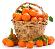Basket with tangerines Royalty Free Stock Images