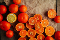 Basket of Tangerines on a wooden table.  Delicious and beautiful Royalty Free Stock Photo