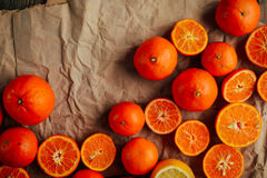 Basket of Tangerines on a wooden table.  Delicious and beautiful Royalty Free Stock Image