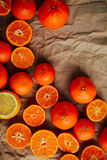 Basket of Tangerines on a wooden table.  Delicious and beautiful Royalty Free Stock Photos