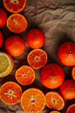 Basket of Tangerines on a wooden table.  Delicious and beautiful Stock Photography