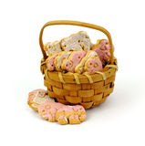 Basket Tasty Iced Animal Cookies Royalty Free Stock Photo