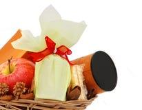 Basket with tea gift Royalty Free Stock Photos