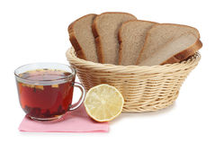 Basket and tea Royalty Free Stock Images