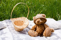 Basket and teddy bear on a blanket Royalty Free Stock Photo