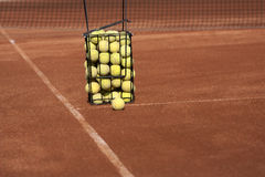 Basket with tennis balls Royalty Free Stock Photo