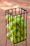 Basket with tennis balls Royalty Free Stock Photography