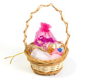 Basket with textile items Royalty Free Stock Photo