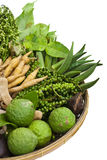 A basket of thai home-grown vegetables. Isolated of  basket of thai home-grown vegetables Stock Photos