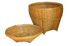 Basket thai weave isolate on white background. The Basket thai weave isolate on white background Royalty Free Stock Photo