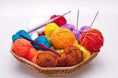 Basket with thread and balls for knitting Stock Photos